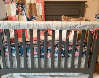 Girl Crib Bedding - Navy Coral Floral, White Gold Arrows, Fawn Minky, Coral, and Ivory, Navy Coral Floral Nursery Set