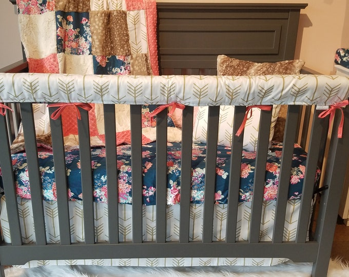 Featured listing image: Girl Crib Bedding - Navy Coral Floral, White Gold Arrows, Fawn Minky, Coral, and Ivory, Navy Coral Floral Nursery Set