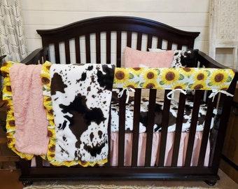 2 Day Ship- Girl Crib Bedding - Sunflower and Cow Minky Farm Nursery Set