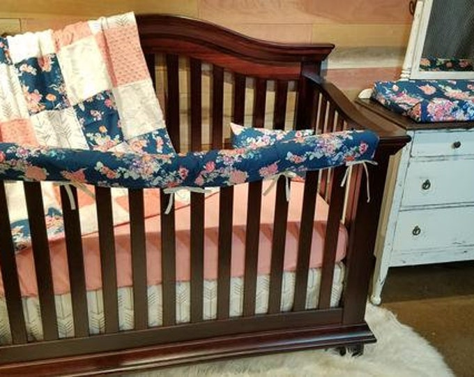 Featured listing image: Girl Crib Bedding -Navy Coral Floral, White Tan Arrows, Coral Minky, Ivory Crushed Minky, Floral Nursery Set - Ships 2 business days
