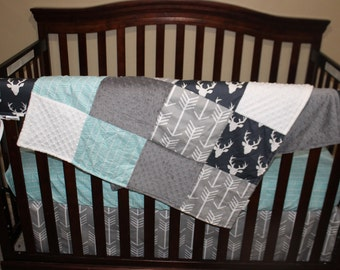2 Day Ship - Boy Crib Bedding - Navy Buck, Gray Arrow, and Herringbone, Woodland Nursery Set