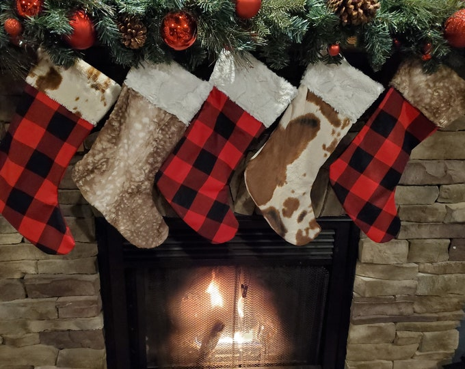Featured listing image: Christmas Stocking - Buffalo Check, Fawn Minky, Or Cow Minky Stocking