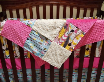 Baby Girl Crib Bedding - Luckie Arrows, Feathers, and Ivory Crushed Minky Crib Bedding Ensemble with Blanket or Patchwork Blanket