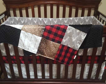 2 Day Ship - Boy Crib Bedding- Gray Buck, Deer Skin Minky, White Gray Arrow, Red Black Buffalo Check, and Black Crib Bedding Ensemble