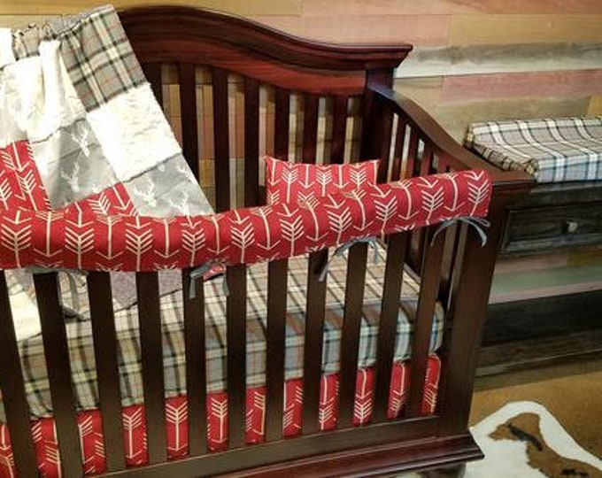Featured listing image: Boy Crib Bedding - Gray Antlers, Red Arrows, Gray Plaid, Ivory Crushed Minky, Antler Nursery Set - Ships 2 business days