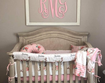 Baby Girl Crib Bedding - Floral Antlers, Striped Flowers, Brushed Tan, White Minky, and Blush Minky Crib Baby Bedding Ensemble