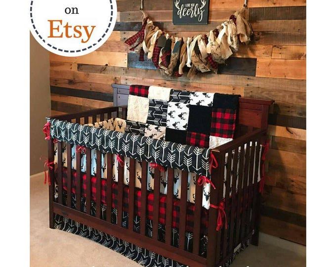 Featured listing image: Boy Crib Bedding - Buck Deer, Black Arrows, Lodge Red Black Buffalo Check, and Black, Woodland Nursery Set