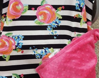 Carseat Tent - Black Stripe with Watercolor Roses Carseat Canopy, Tent