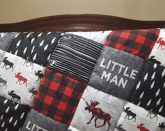 Little Man Moose Patchwork Fabric Baby Blanket or Quilted Comforter- Moose, Pine tree, Lodge, Red Black Buffalo Check, Woodgrain, Woodland
