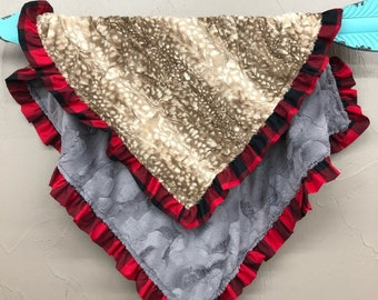 Soft Minky Blanket with Ruffle Edge - Fawn Minky and Gray Hide Minky with Red Black Check Ruffle