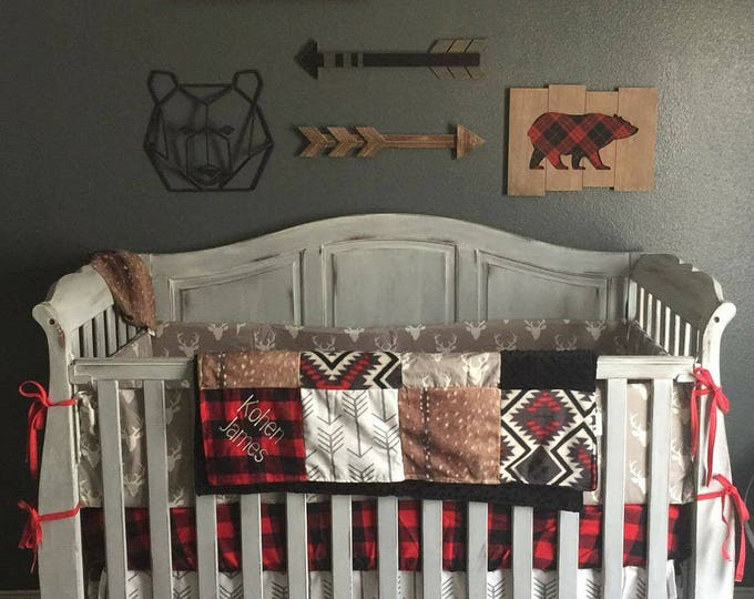 Featured listing image: Woodland Boy Crib Bedding- Gray Buck, Deer Skin Minky, White Gray Arrow, Aztec, Red Black Buffalo Check, and Black, Woodland Nursery Set