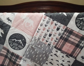 Crib Bedding Starter Set -  Pink Gray Adventure Moose Bear