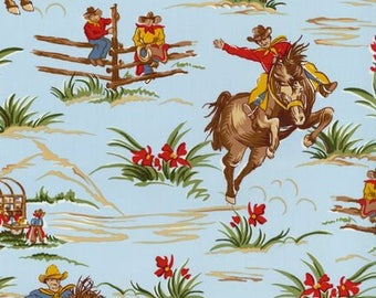 2 Day Ship - Cowboy Fitted Bed Sheet - Cradle, Pack and Play, Mini Crib, Crib, Twin, Full - Barn Dandy