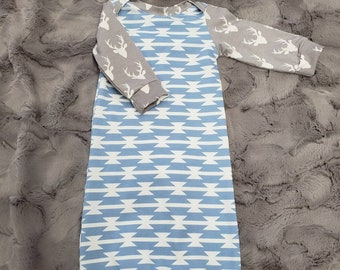 2 Day Ship - Going Home Baby Gown - Gray Buck and Light Blue Tomahawk infant gown