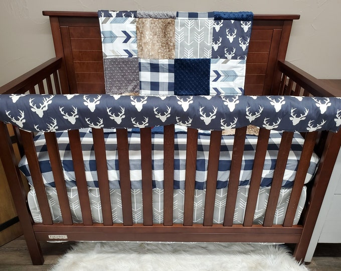 Featured listing image: 2 Day Ship -Boy Crib Bedding - Navy Buck, Rustic Arrow, Fawn Minky Nursery Collection