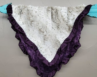 Soft Minky Blanket with Ruffle Edge - Lynx Minky and Plum Galaxy Minky with Plum Satin Ruffle