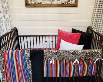 2 Day Ship - Girl Crib Bedding - Cheetah and Serape Nursery Collection