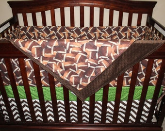 Boy Crib Bedding - Footballs, Touch Down Field, and Brown Chevron, Football Nursery Set