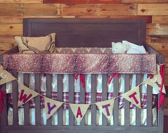2 Day Ship - Woodland Boy Crib Bedding- Gray Buck, Deer Skin Minky, White Tan Arrow, Red Navy Plaid, and Crimson, Woodland Nursery Set