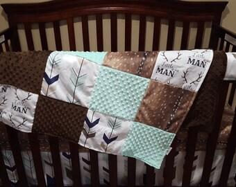 Boy Crib Bedding - Little Man Antlers, Fletching Arrow, Deer Skin Minky, Mint Minky, and Brown Minky, Little Man Antler Nursery Set