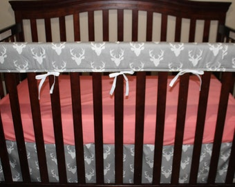 Woodland Girl Crib Bedding - Gray Buck, Gray Arrow, and Coral Crib Baby Bedding Ensemble