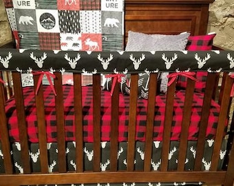 Boy Crib Bedding - Adventure Moose Bear, Black Antlers, Red Black Buffalo Check, Black, and Gray, Adventure Nursery Set