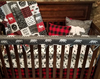 Baby Crib Rail Guard Cover - Gray Bear and Red Black Buffalo Check, Woodland