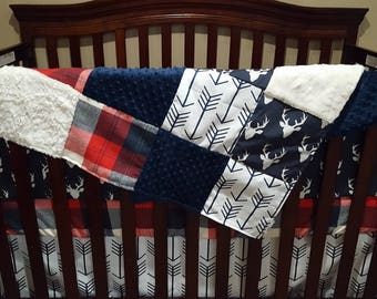 2 Day Ship - Boy Crib Bedding - White Navy Arrows, Navy Buck, Red Navy Check, Navy, and Ivory, Deer Nursery Set