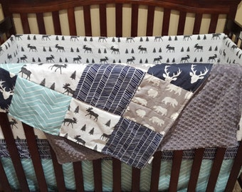 Woodland Patchwork Blanket- Navy Buck, Moose, Bears, Navy Herringbone, and Aqua Pinstripe Patchwork Blanket