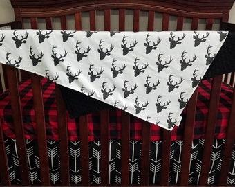 Crib Bedding Starter Set - Black buck, black arrow, and red black check