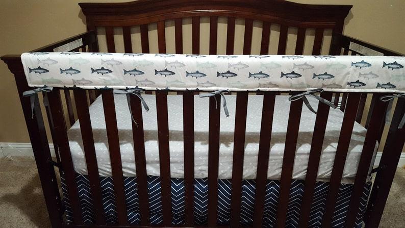 Boy Crib Bedding Gray Minky Navy Buck,Trout Fish Navy Pinstripe Chevron Gray Weathervanes Buck and Fishing Nursery Set