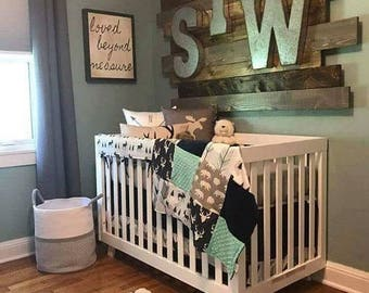 Woodland Boy Crib Bedding- Boy Baby Bedding Navy Buck, Moose, Arrow Bear, Fletching Arrow, Mint, and Navy, Woodland