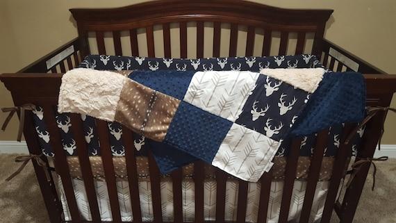 Boy Crib Bedding Navy Buck Deer Skin, Blue Deer Head Baby Bedding