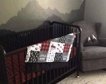 Gray Crib Bedding Etsy
