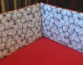 Baseball Crib Bumper - White Packed Baseballs , Gloves and Bats