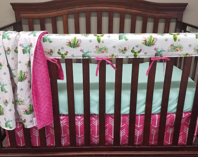 Featured listing image: Girl Crib Bedding -  Cactus and Pink Arrows