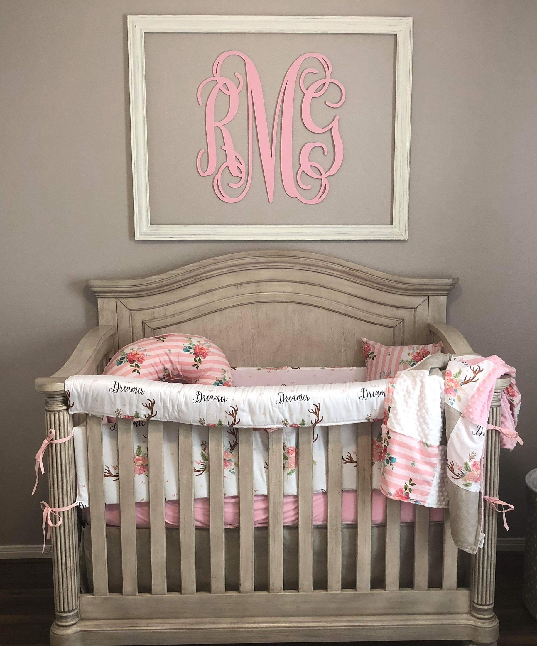 exceptional Pink Minky Crib Bedding Part - 18: Baby Girl Crib Bedding - Floral Antlers, Striped Flowers, Brushed Tan,  White Minky, and Blush Minky Crib Baby Bedding Ensemble