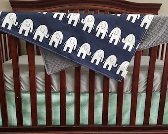 Crib Bedding Starter Set -  Navy Elephants and Mint Arrows