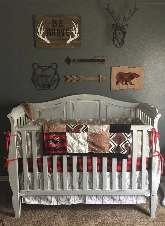 Woodland Boy Crib Bedding Gray Buck Deer Skin Minky White