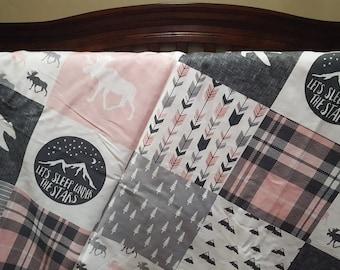 Crib Bedding Starter Set -  Pink Gray Adventure Moose Bear