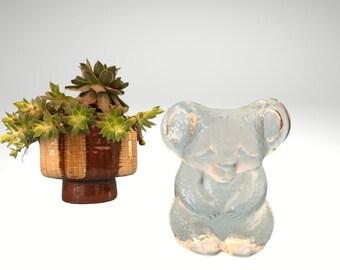 Vintage Swedish crystal glass Kosta Boda koala bear paperweight trinket figurine from zoo series