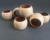 Set of Six Enameled Wooden Ivory Napkin Rings