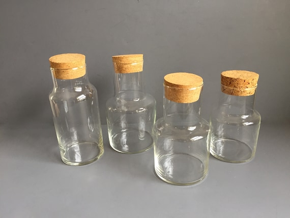 Set Of Glass Storage Jars With Cork Lids Modern Minimalist Etsy