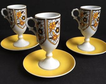 Da Vinci Demitasse Footed Cups and Saucers, Espresso Cups