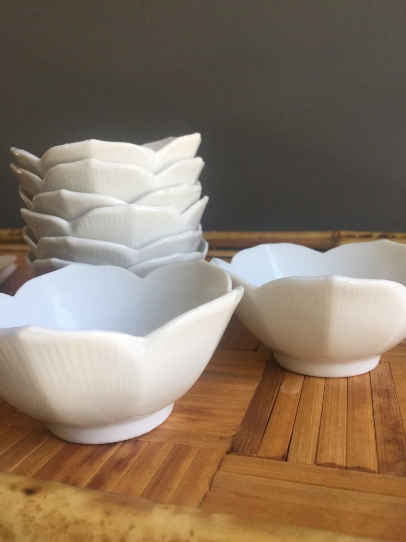 Miniature White Lotus Bowls Set of Eight