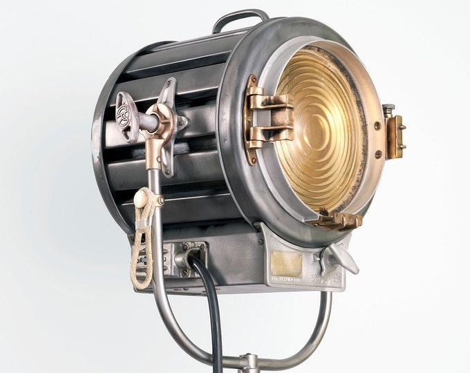 Featured listing image: 1940's 410 2K Mole Richardson Vintage Hollywood Movie Light: Vintage Theatre Light -  Antique Floor Light - Industrial Studio Spot Lamp