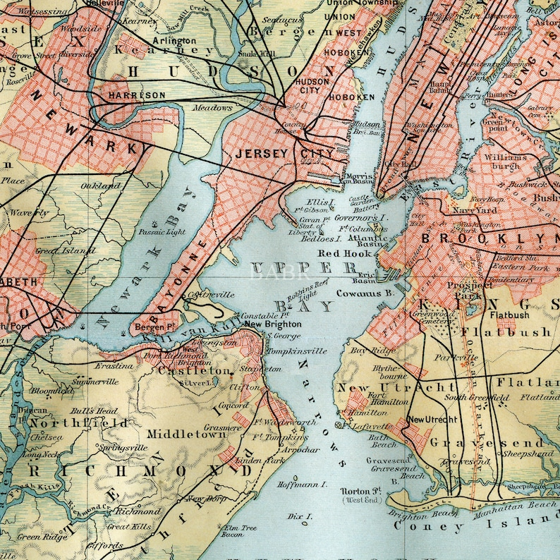 Map Of New York Suburbs.Instant Download Map Of New York City And Suburbs 16x20 Or Smaller Late 1800s German Reproduction Print Diy Or Crafts
