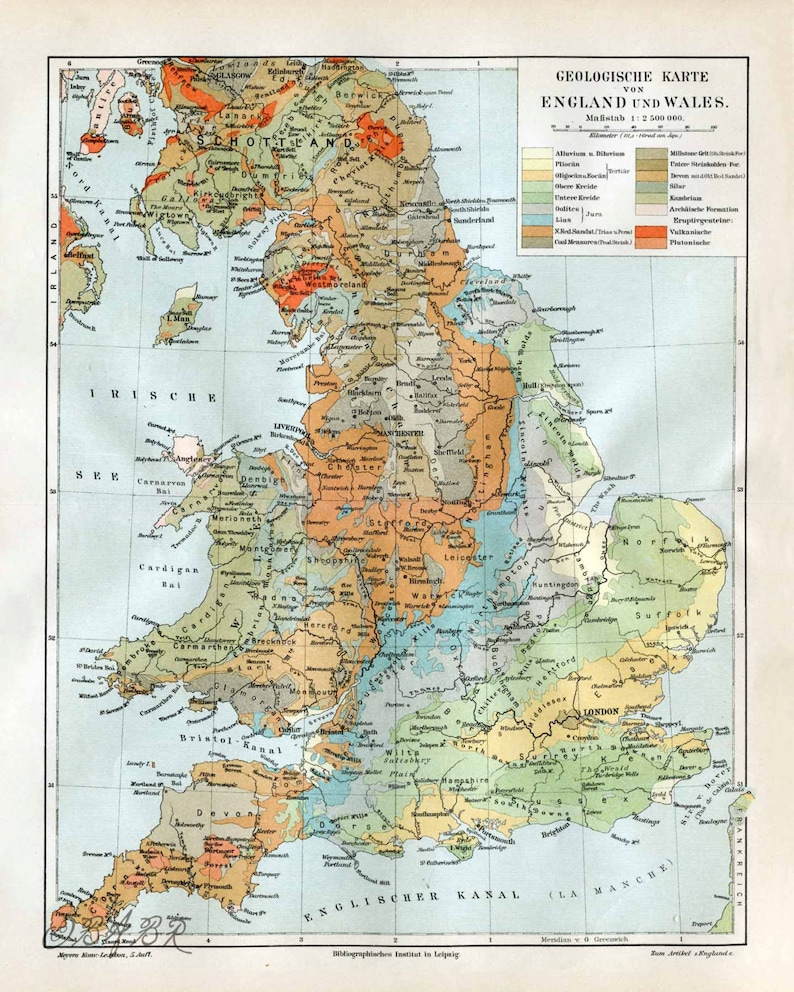 Map Of England Scotland.Uk Geology Map England Scotland Wales Super Large Poster Print Etsy