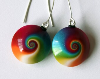 Polymer Clay earrings, Polymer jewelry, cool earrings, DIY earrings, wearable art, handmade, polymer clay, swirl earrings, DIY jewelry, OOAK