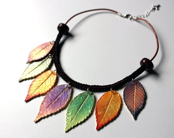 Polymer Clay Necklace Fall Leaves.